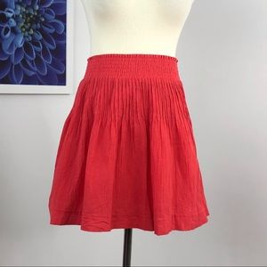 J Crew Coral Crinkle Gauze Mini Skirt